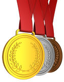 Medal with red ribbon Stock Images