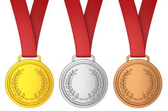 Medal with red ribbon Stock Photos
