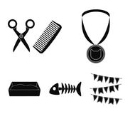 Medal on the ribbon, haircut for the cat, fish bone, a tray with sand.Cat set collection icons in black style vector Stock Photos