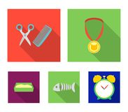 Medal on the ribbon, haircut for the cat, fish bone, a tray with sand.Cat set collection icons in flat style vector. Symbol stock illustration Stock Images