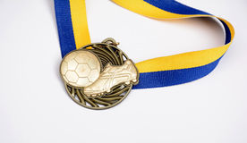 Medal with ribon - football isolated on white background Stock Photos