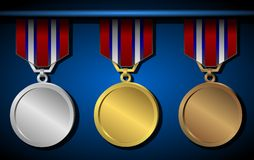 Medal Set. Set of medals on blue background Stock Image