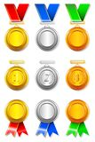 Medal Set. Illustration of set of gold,silver and bronze medal on isolated background Royalty Free Stock Photography