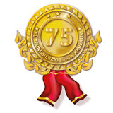 Medal seventy-five anniversary. Golden medal with seventy-five anniversary Royalty Free Stock Images