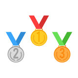 Medal sign set. Gold, Silver, Bronze. Vector illustration icon flat style isolated on white background Royalty Free Stock Photography