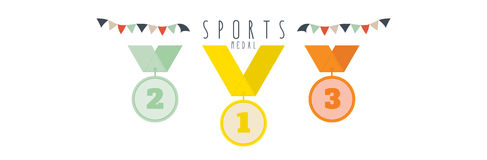 Medal (Sports). Vector illustration of Three medals vector illustration