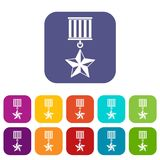 Medal star icons set Royalty Free Stock Images