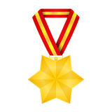 Medal. Star shaped golden medal isolated on white background Stock Photo