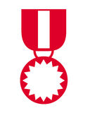 Medal symbol. Closeup of red medal symbol on white background Stock Images