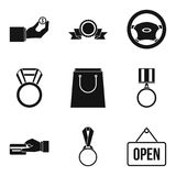 Medal to employee icons set, simple style Stock Images