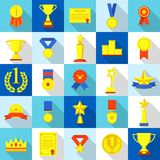 Medal trophy award prize icons set, flat style. Medal trophy award prize icons set. Flat illustration of 25 medal trophy award prize vector icons for web Royalty Free Stock Photo
