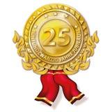 Medal twenty-five years anniversary. Golden medal twenty-five years anniversary Royalty Free Stock Photos