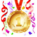Medal Of Winner Design. With gold award on red ribbon and streamers on blurred background vector illustration royalty free illustration