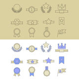 Medal and winner icon set. Medal and winner icon set, blank label of first place, flag, star of flat design style, raster illustration Royalty Free Stock Image
