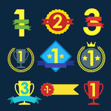 Medal and winner icon set. Medal and winner icon set, blank label of first place, flag, star of flat design style, vector illustration Stock Images