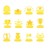 Medal and winner icon set. Medal and winner icon set, blank label of first place, flag, star of flat design style, vector illustration Royalty Free Stock Photo