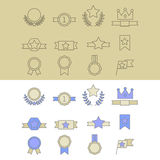 Medal and winner icon set. Medal and winner icon set, blank label of first place, flag, star of flat design style, vector illustration Stock Photography