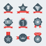 Medal and winner icon set. Blank Label of Flat Style. First place, flag, star Royalty Free Stock Photos