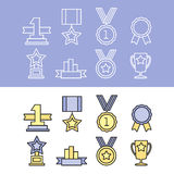 Medal and winner icon set. Blank Label of Flat Style. First place, flag, star Royalty Free Stock Image
