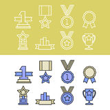 Medal and winner icon set. Blank Label of Flat Style. First place, flag, star Royalty Free Stock Photography