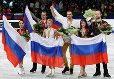 Medal winner in pair skating Royalty Free Stock Photography