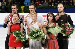 Medal winner in pair skating Stock Photos
