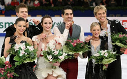 Medal winners in Ice Dance Royalty Free Stock Photography