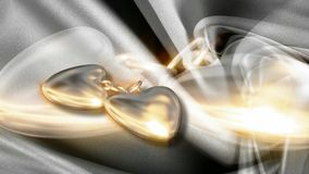 Medalhão do coração do ouro que gira o fundo abstrato do movimento ilustração stock