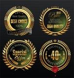 Medalhão dourado da qualidade superior com grinalda do louro Fotografia de Stock Royalty Free