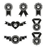 Medalhão, grupo dos ícones, liso, estilo da etiqueta de cão dos desenhos animados Isolado no fundo branco Fotos de Stock Royalty Free