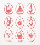 Medalhões do tema do Natal Fotografia de Stock Royalty Free