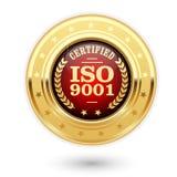 Medalha certificada do ISO 9001 - sistema de gerenciamento da qualidade Foto de Stock