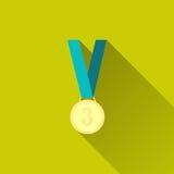 Medalha de bronze no projeto liso com sombra longa Imagens de Stock