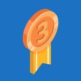 Medalha de cobre com fita Ilustração isométrica do vetor 3d liso Imagens de Stock