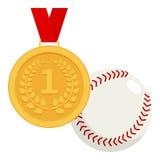 Medalha de ouro e ícone liso da bola do basebol Fotografia de Stock Royalty Free