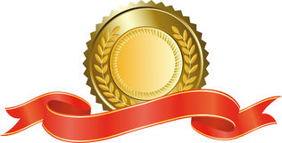 Medalha de ouro e fita vermelha Imagens de Stock Royalty Free