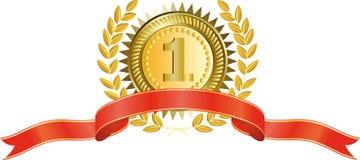 Medalha de ouro e grinalda do louro Imagens de Stock Royalty Free