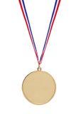 Medalha de ouro em branco com fita tricolor Fotografia de Stock