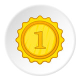 Medalha de ouro para o primeiro ícone do lugar, estilo dos desenhos animados Fotos de Stock