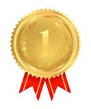 Medalha dourada do primeiro lugar. Vetor Imagens de Stock Royalty Free