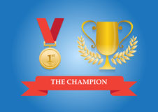 Medalha e troféu do campeão Imagens de Stock