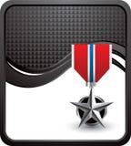 Medalha militar na onda checkered preta Imagem de Stock Royalty Free