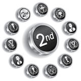 Medalha olímpica de prata ajustada (ícones) Imagens de Stock