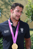 A medalha olímpica do ouro de Andrea Molmenti volta para casa Fotografia de Stock