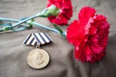 Medalha para a vitória sobre Alemanha na grande guerra patriótica de 1941-1945 e dois cravos vermelhos Fotos de Stock Royalty Free