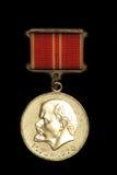 Medalha soviética do vintage com o Lenin nela Foto de Stock Royalty Free