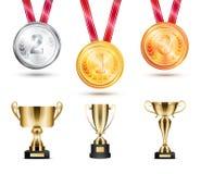 Medalhas coleção e ilustração do vetor dos troféus ilustração royalty free