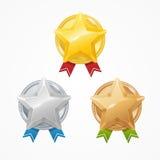 Medalhas com as estrelas ajustadas Vetor Fotografia de Stock
