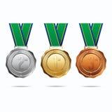Medalhas com fita brasil Fotografia de Stock Royalty Free