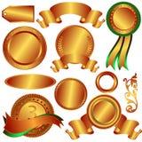 Medalhas de bronze da coleção e contadores (vetor) ilustração stock